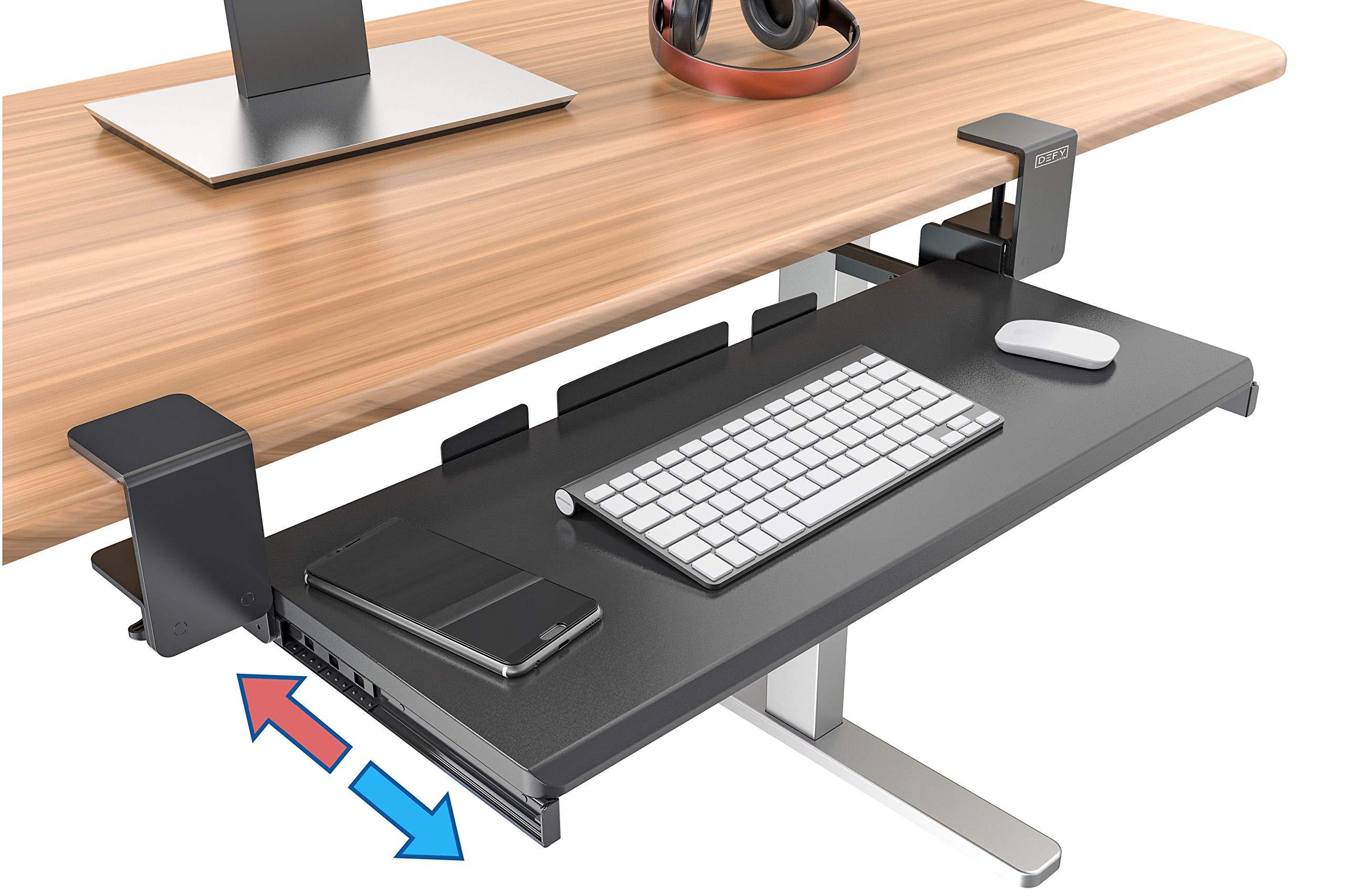 Clamp On Keyboard Tray Office Under Desk Ergonomic Desks Wood Clamps Wrist Rest Pad Mouse Drawer Slides Computer Shelf Table Desktop Extender Pull Out Workstation Platform Large Surface 26 inch by Defy Desk
