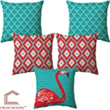 Dream Weaverz Decorative Cushion Cover/Throw Pillow Set of 5 - Swan Abstract Design (16X16 Inch, Red, Green)