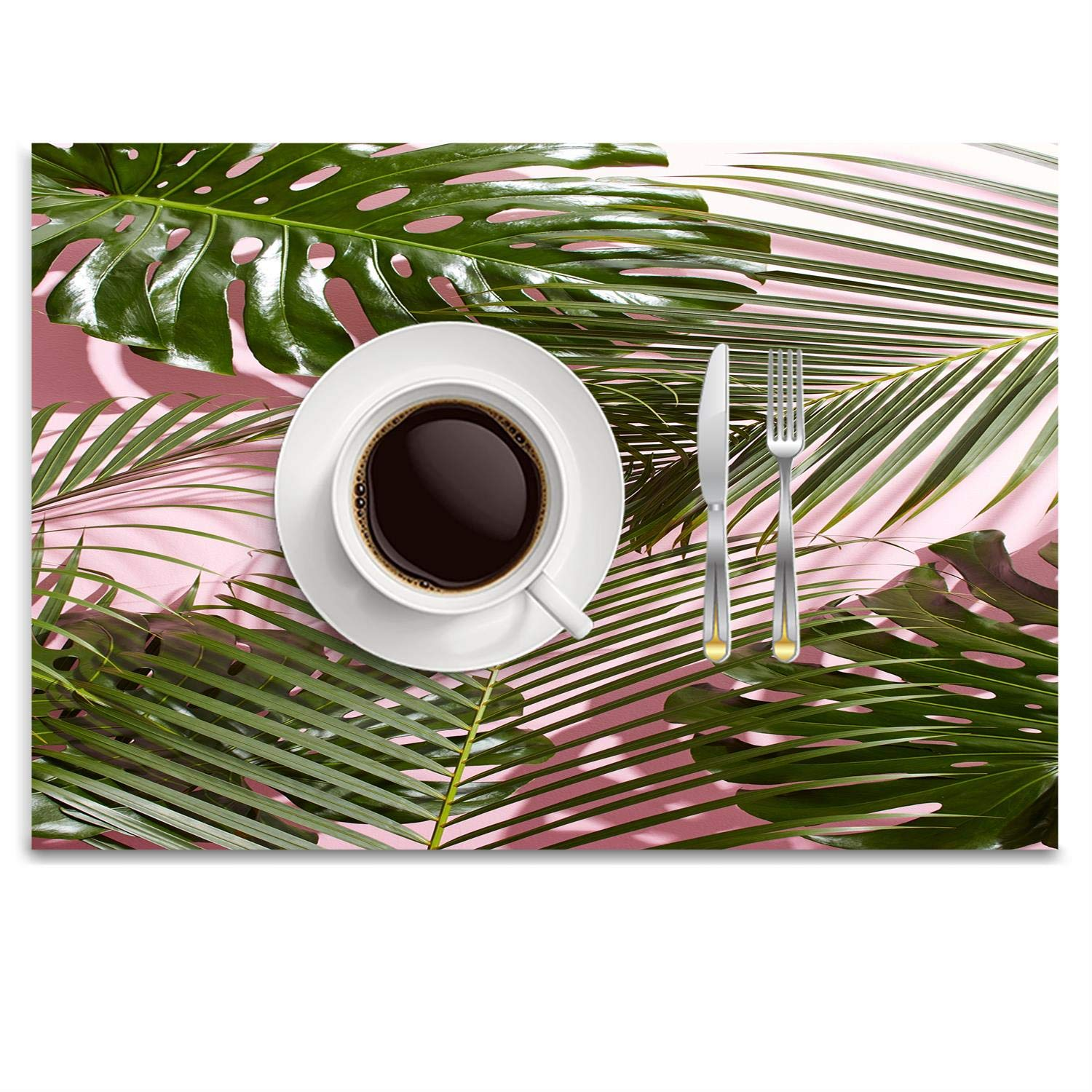 POGResdx West Elm Tropical Leaves Summer Placemat Heat-Resistant Washable Table Place Mats for Kitchen Dining Table Decoration 14.8 x 9.9 inch