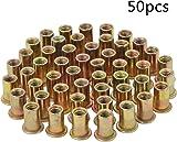 HSeaMall 50Pcs M6 Plated Carbon Steel Rivet Nuts Insert Nuts Head Threaded Insert Rivet Nutsert Nut RiveterCap Kits Rivnut Tool