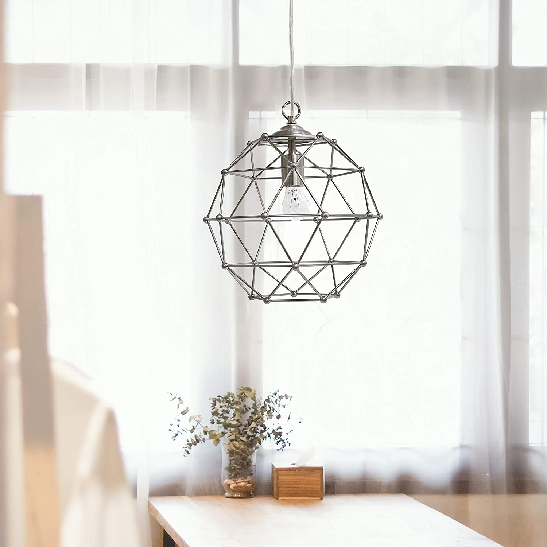 Elegant Designs PT1006-BSN 1 Industrial Ceiling Light Pendant, 12 Inch, Brushed Nickel