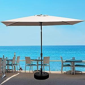 JEAREY 6.5x10 FT Rectangula Patio Umbrellas Aluminum Outdoor Umbrella Market Table Umbrellas with Push Button Tilt, Crank and 6 Sturdy Ribs for Lawn, Garden, Deck, Backyard & Pool, Beige