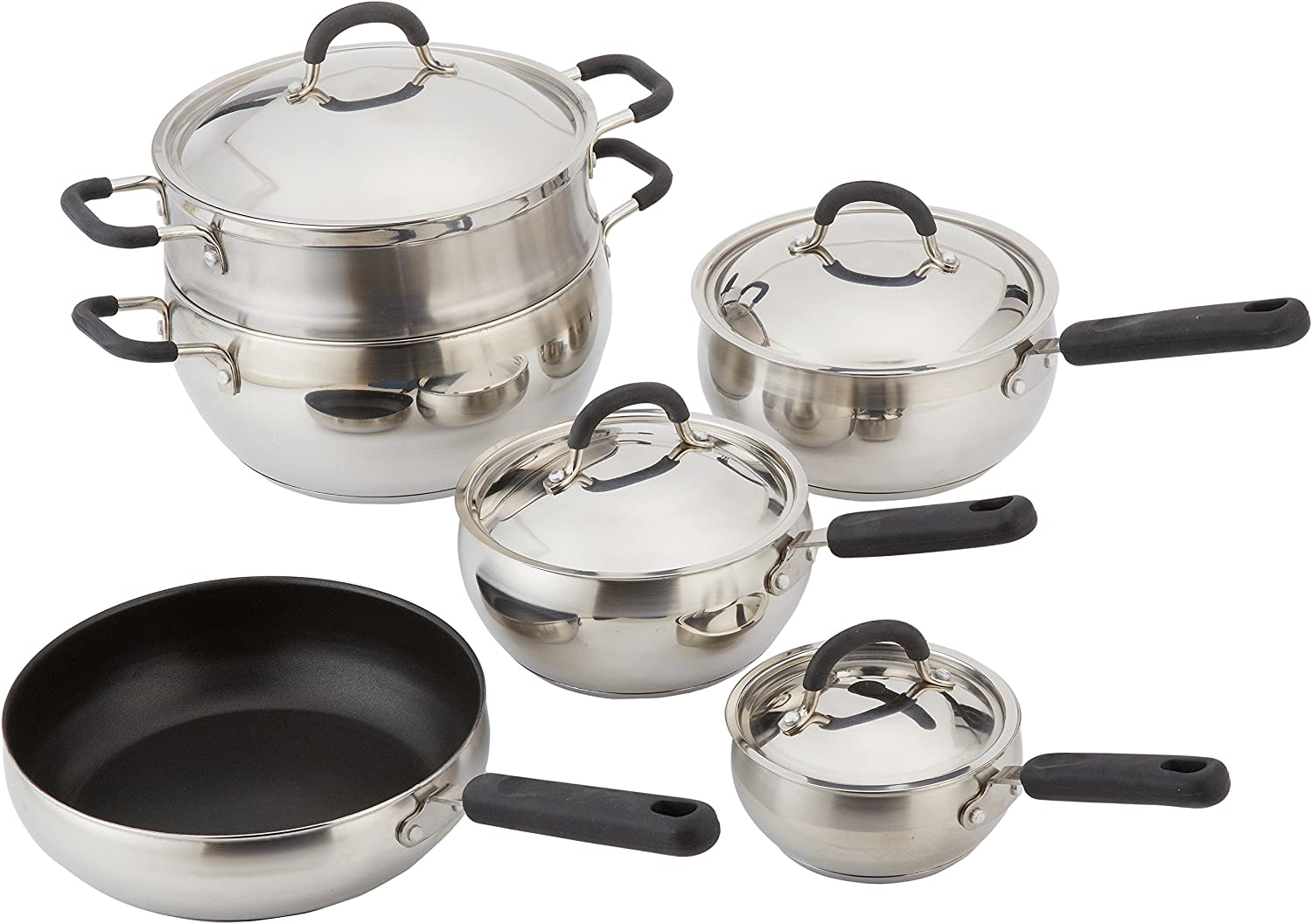 10 Piece 18/10 Belly Shaped Cookware Set w/ Encapsulated Base & Santoprene Handles