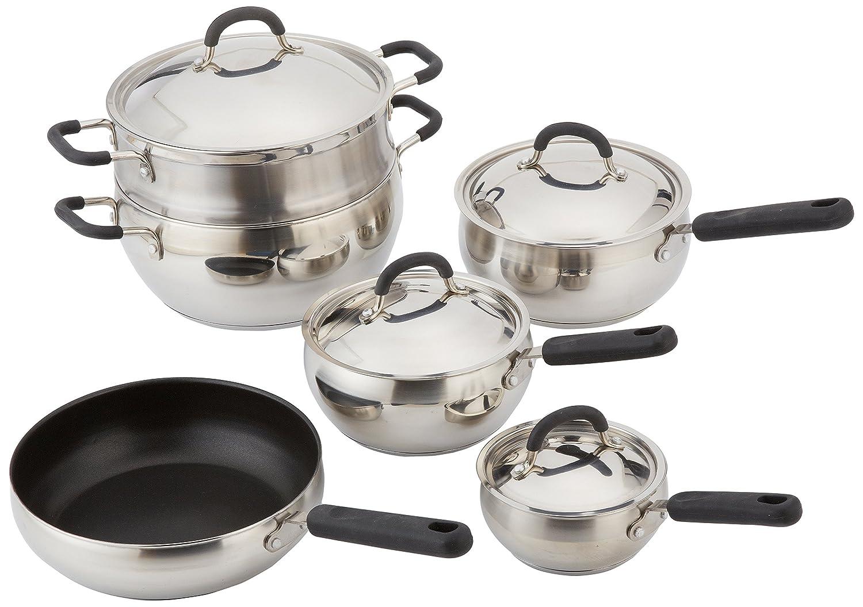 10 Piece 18//10 Belly Shaped Cookware Set w// Encapsulated Base /& Santoprene Handles Cook Pro Inc 554