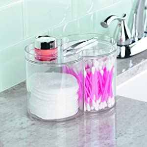 InterDesign Clarity Stackable Makeup and Cosmetic Storage Canister Container with Two Compartments for Bathroom Vanity - Clear