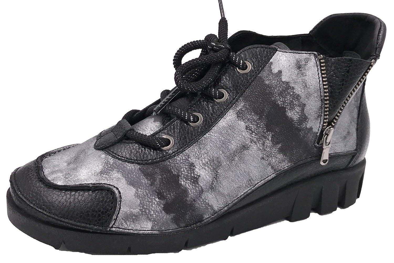 Silber 73202 Schwarz Softwaves Schnürschuh Damen Sneaker