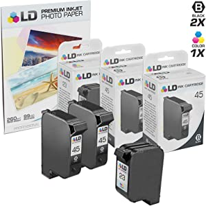 LD Remanufactured Ink Cartridge Replacements for HP 45 & HP 23 (2 Black, 1 Tri-Color, 3-Pack)