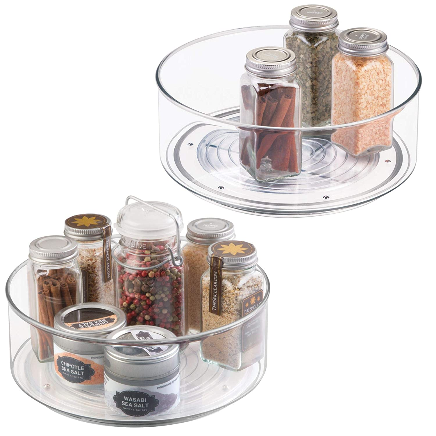Plastic Round Lazy Susan Rotating Turntable, Food Storage Container Cabinets, Pantry, Refrigerator, Countertops, Spinning Organizer Spices, Condiments, Baking Supplies, 2 Pack - Clear