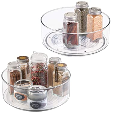 mDesign Plastic Round Lazy Susan Rotating Turntable, Food Storage Container for Cabinets, Pantry, Refrigerator, Countertops, Spinning Organizer for Spices, Condiments, Baking Supplies, 2 Pack - Clear
