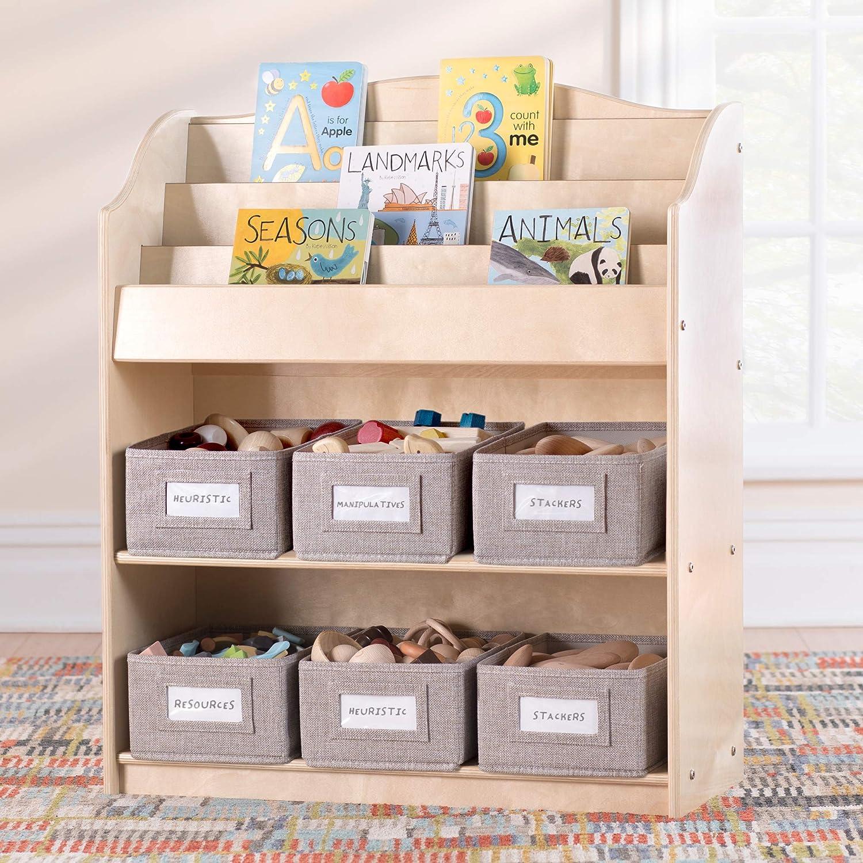 Guidecraft EdQ Essentials Book and Bin Browser Natural: 6 Fabric Storage Bins, Book Display and Toy Storage Organizer for Kids; School Supply Furniture