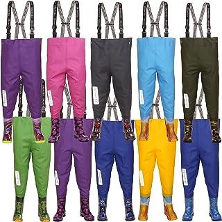 3Kamido kids chest waders 10 models, adjustable waist, durable suspenders, buckle FixLock Nexus, splash suit, fishing boots, teens junior waders 20 – 35 EU (UK 4 toddler - UK 2 adult)