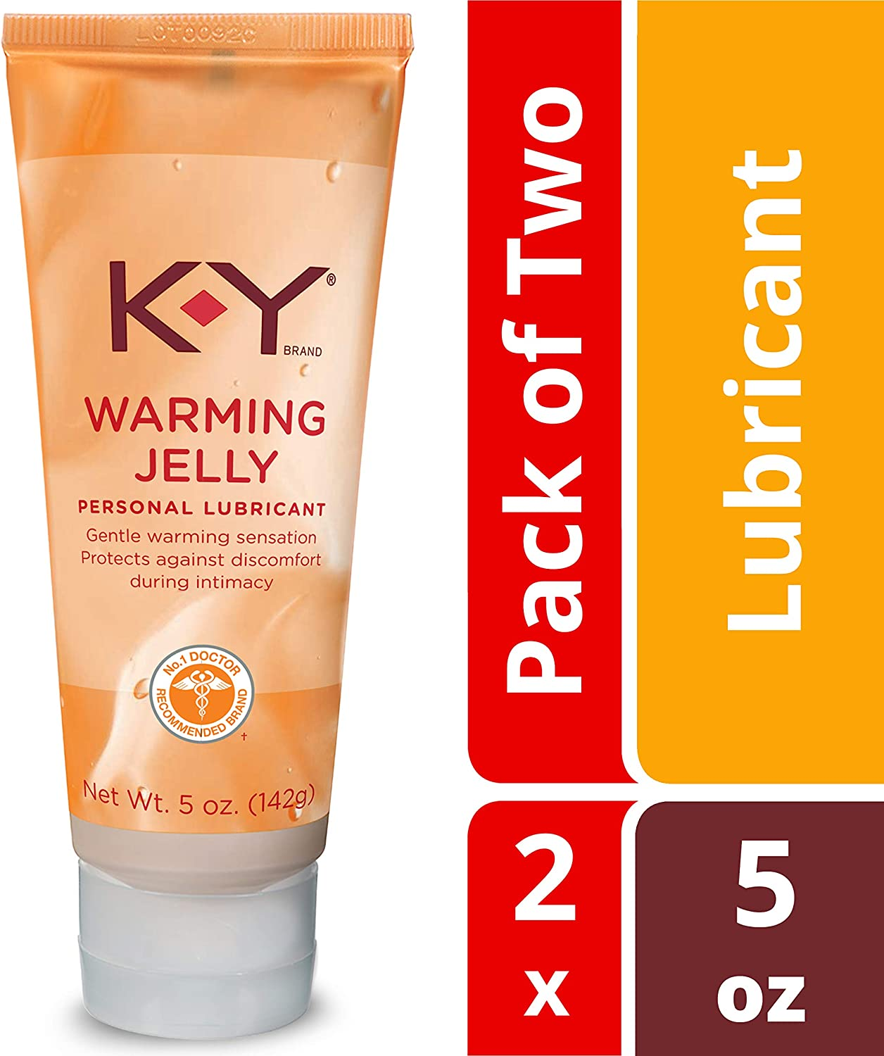 K-Y Warming Jelly Personal Lubricant (5 oz), Premium Non-Greasy Warming Lube for Women, Men & Couples (Pack of 2)