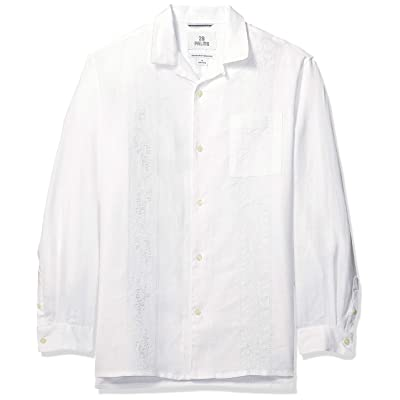 Brand - 28 Palms Men's Relaxed-Fit Long-Sleeve 100% Linen Embroidered Guayabera Shirt: Clothing