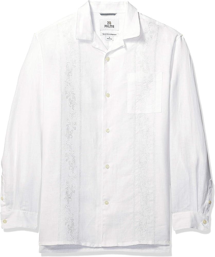 Marca Amazon – 28 Palms – Camisa guayabera bordada de manga larga, corte holgado, de lino 100 % para hombre, blanco, US L (EU L): Amazon.es: Ropa y accesorios
