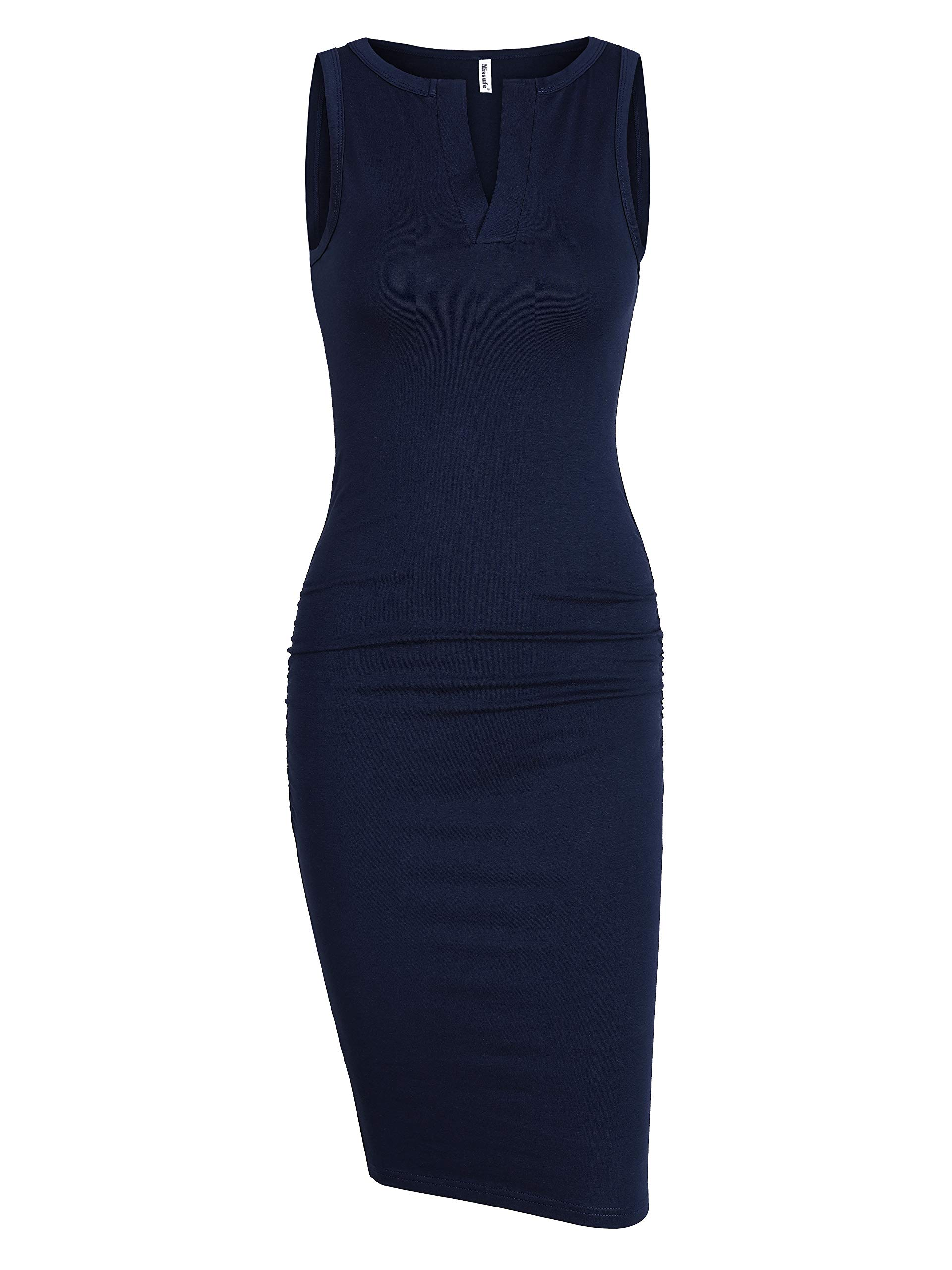 Missufe Sleeveless V Neck Ruched Sundress Sheath Midi Bodycon Tank Petite Cotton Dress for Juniors (Navy Blue, X-Small)