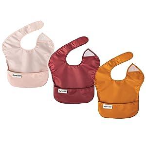 Tiny Twinkle Mess-Proof Easy Bib 3 Pack - BPA Free Waterproof Baby Bib with Flip Pocket for Babies and Toddlers (Rose, Burgundy, Cinnamon)