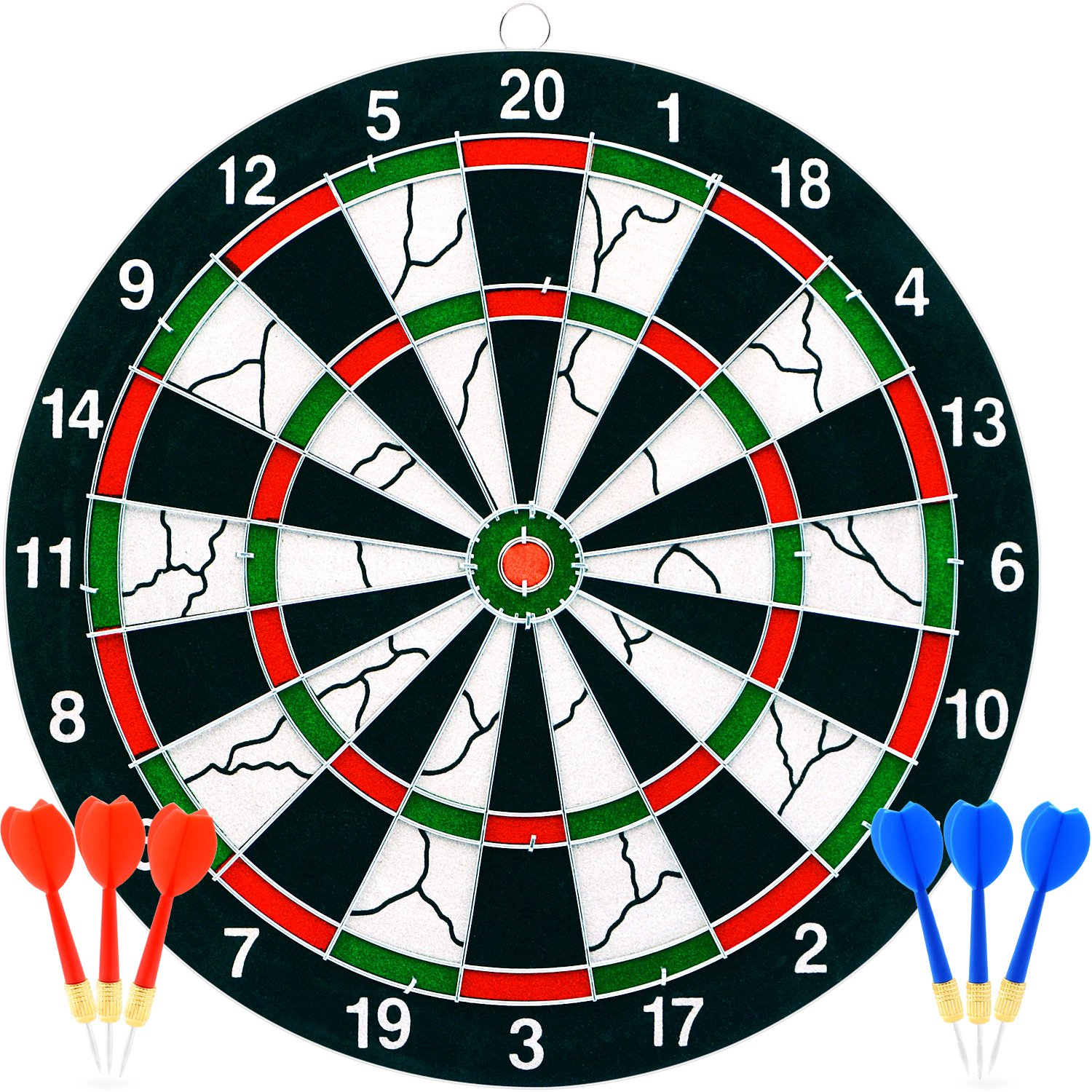 7TECH Dart Board 12 inches with 1 Double Sided Score Game Set and 6 Darts
