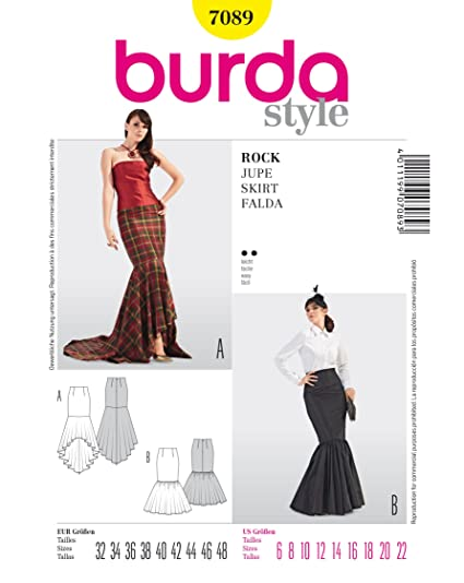 Amazon BURDA STYLE 40 MERMAID STYLE SKIRTS FLOOR LENGTH Amazing Mermaid Dress Pattern