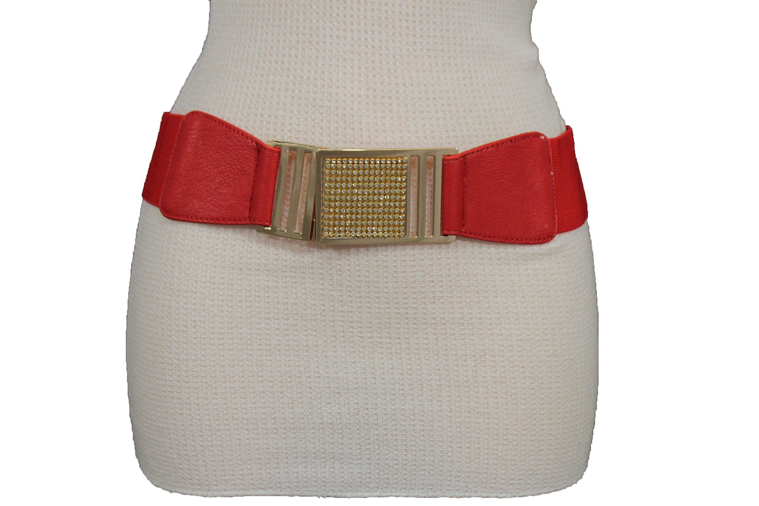 TFJ Women Fashion Elastic Belt Hip High Waist Gold Metal Buckle Plus M L XL Red
