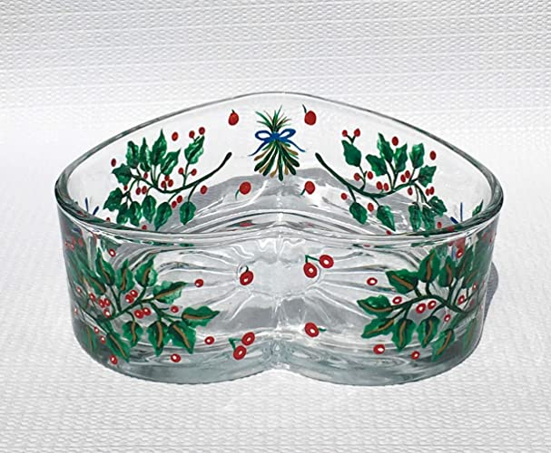 christmas candy dish with hand painted holly