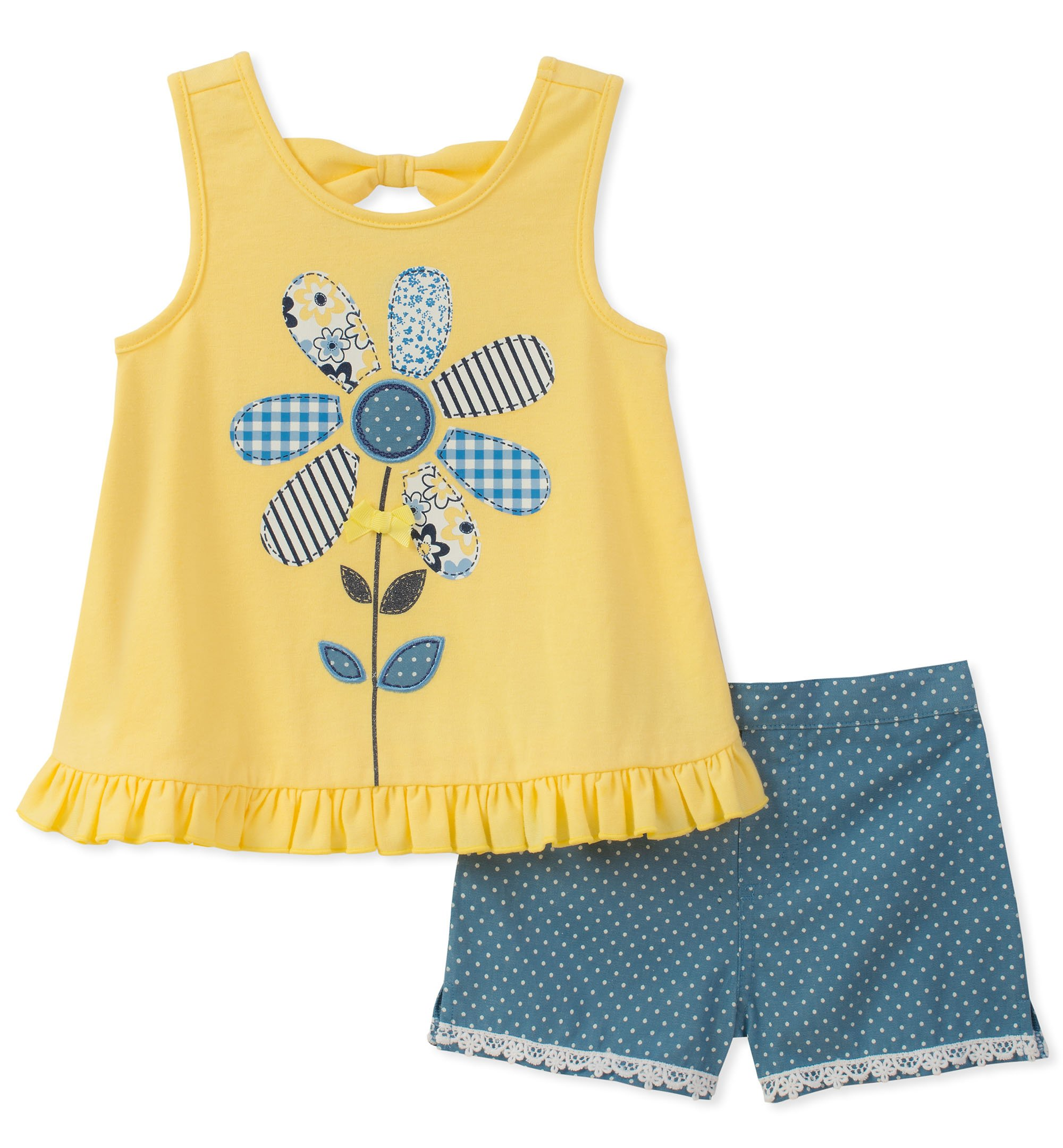 Kids Headquarters Toddler Girls' 2 Pieces Shorts Set, Yellow/Blue, 2T by Kids Headquarters