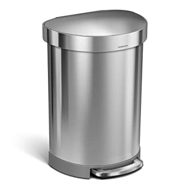 simplehuman 60 Liter / 16 Gallon Stainless Steel Semi-Round Step Trash Can with Liner Rim, Brushed Stainless Steel