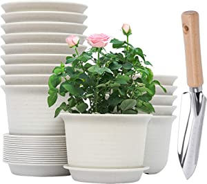 6 Inch Plastic Planter with Drainage Hole and Tray, Set of 15 PCS Flower Pots and 1 PC Garden Multi Use Trowel, Indoor Flower Plant Pots Planter for Succulents, Flowers, Herbs (Marble White)