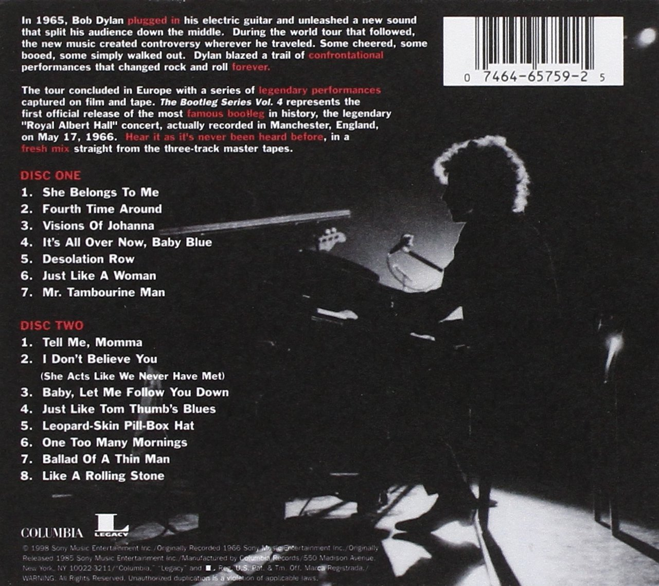 4 Bob Dylan Live 1966 The Royal Albert Hall Concert