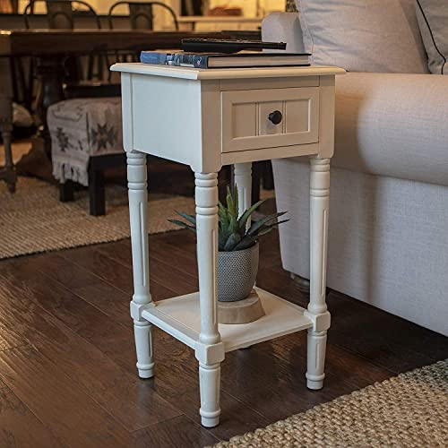 End Table with Storage Drawer, Indoor Plant Stand, Living Room Decor, Colored Antique White