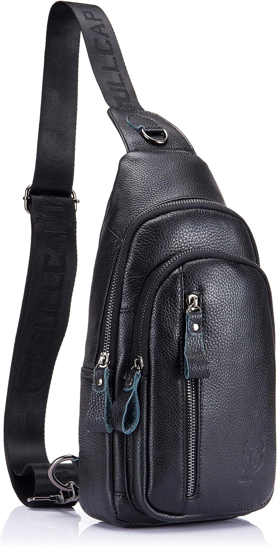 Mens Sling Bag Genuine Leather Chest Shoulder Backpack Crossbody Outdoor Travel Casual Daypack blcak