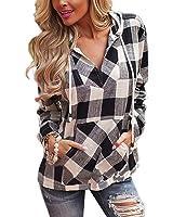 eshion Womens Ladies Hoodies Plaid V-Neck T-Shirt Blouse Tops