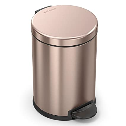 Simplehuman Round Step Trash Can Steel, 4.5L/1.19 Gal, Rose Gold