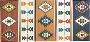 Ukeler Cotton Braided Kilim Rug Hand Woven Colorful Printed Area Rugs Farmhouse Door Mat Accent Throw Rug Runner for Kitchen Laundry Room Bedroom, 23.6''×51.2''