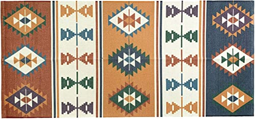 Ukeler Cotton Braided Kilim Rug Hand Woven Colorful Printed Area Rugs Farmhouse Door Mat Accent Throw Rug Runner