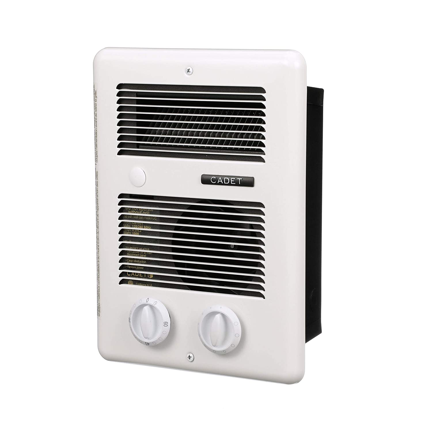 Amazon Com Cadet Com Pak Bath 1000w 120v 240v Best Bathroom Electric Wall Heater With Thermostat And Timer White Industrial Scientific