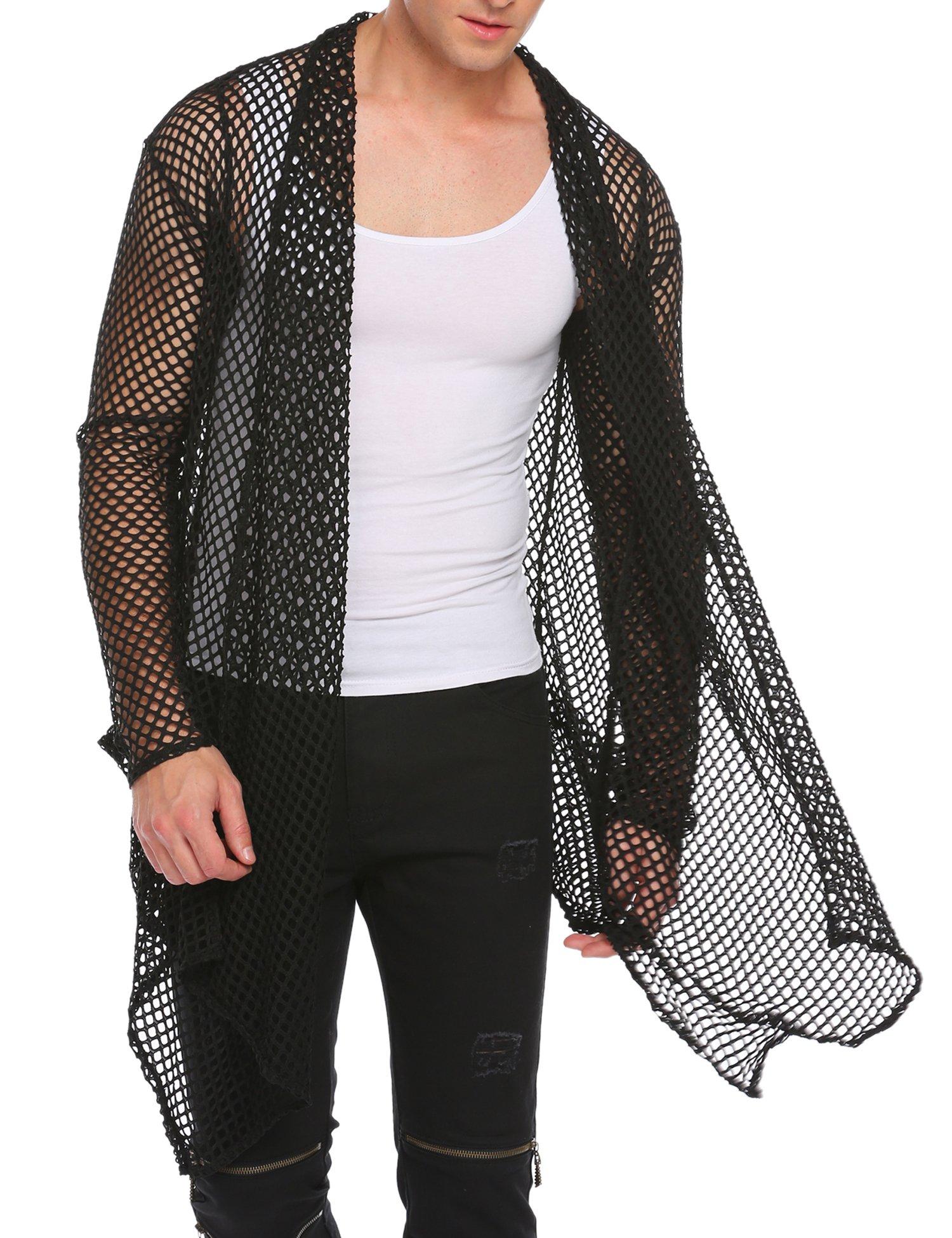 COOFANDY Men's Ruffle Shawl Collar Sleeveless Long Cardigan Vest (Medium, Black(Long Sleeve net))
