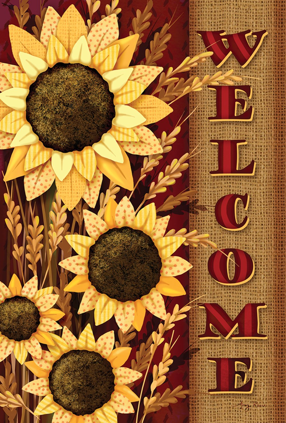 Toland Home Garden Welcome Sunflowers 12.5 x 18 Inch Decorative Fall Autumn Flower Garden Flag