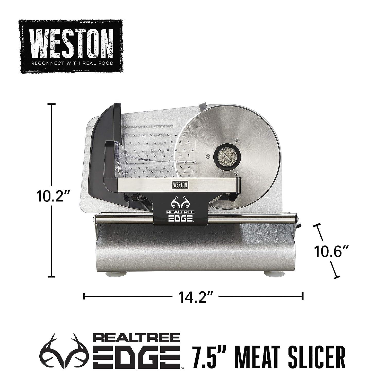 "Weston Realtree Edge 7 1/2"" 200 Watt Meat Slicer, Stainless Steel (83-0750-RE), 200W"