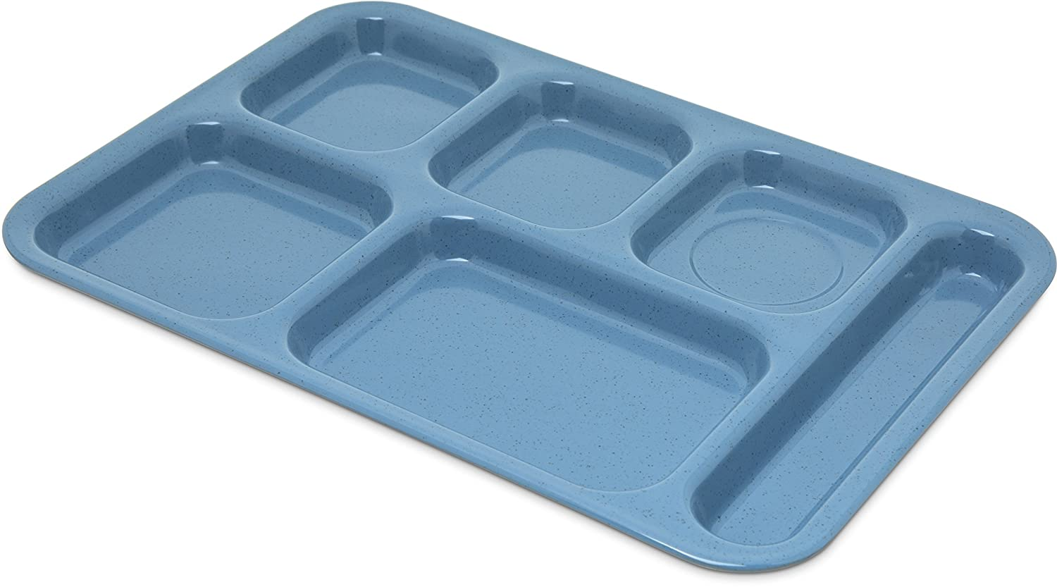 "Carlisle 4398992 Right-Hand Heavy Weight 6-Compartment Cafeteria/Fast Food Tray, 10"" x 14"", Sandshade"