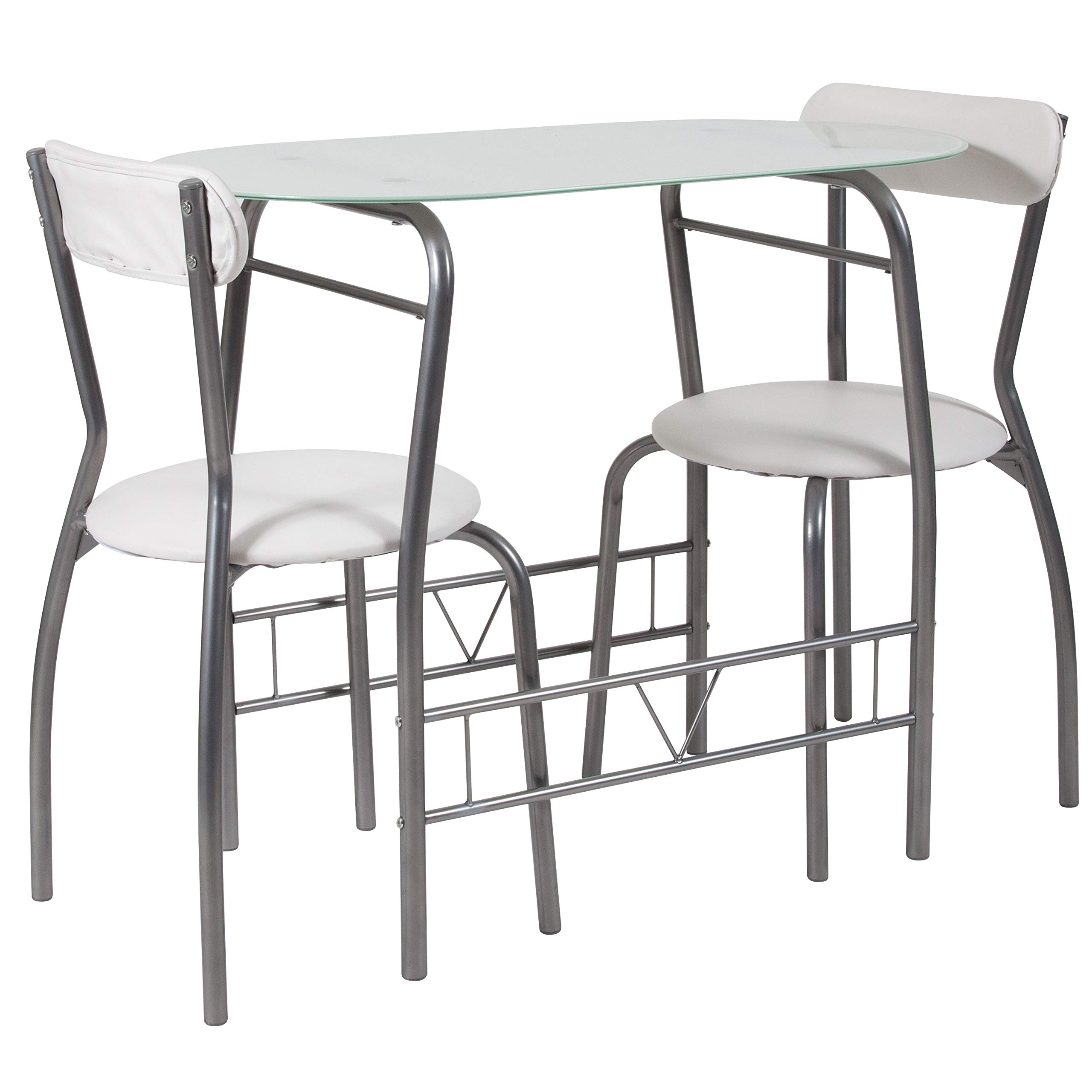 Flash Furniture Sutton 3 Piece Space-Saver Bistro Set with White Glass Top Table and White Vinyl Padded Chairs by Flash Furniture