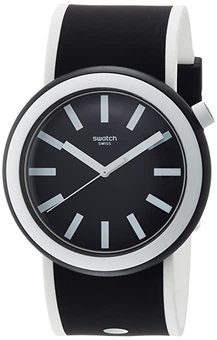 Amazon.com: Swatch New POP Poplooking Black Dial Silicone Strap Unisex Watch PNB100: Watches