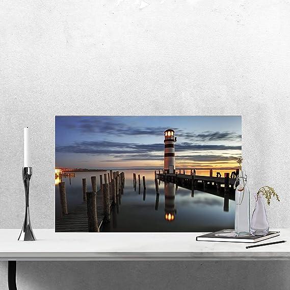 New LED Light Up Seashore Canvas Jetty Beach Scene Or Set Wall Art Nautical Home