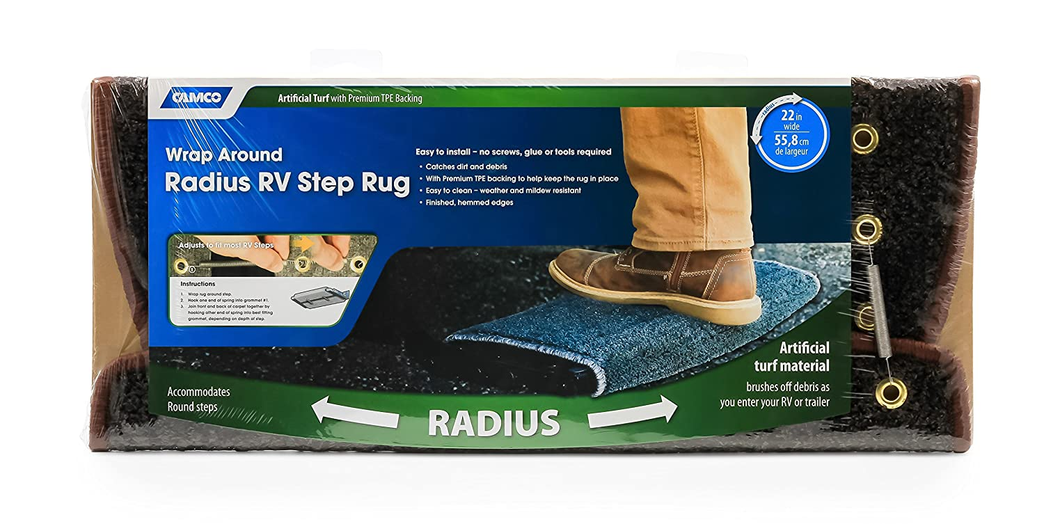 Premium Radius Wrap Around Step Rug, Turf Material - Gray 22 Wide Camco 42950 RV Step Rug