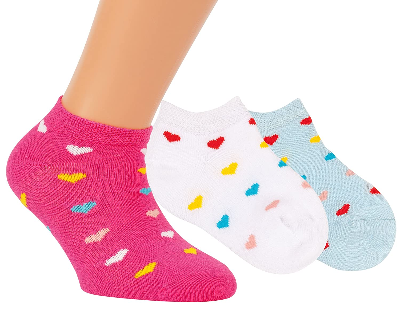 Vitasox Kinder Mädchen Sneaker Socken Kindersocken Sneakersocken Baumwolle ohne Naht 3er, 6er Pack 212296