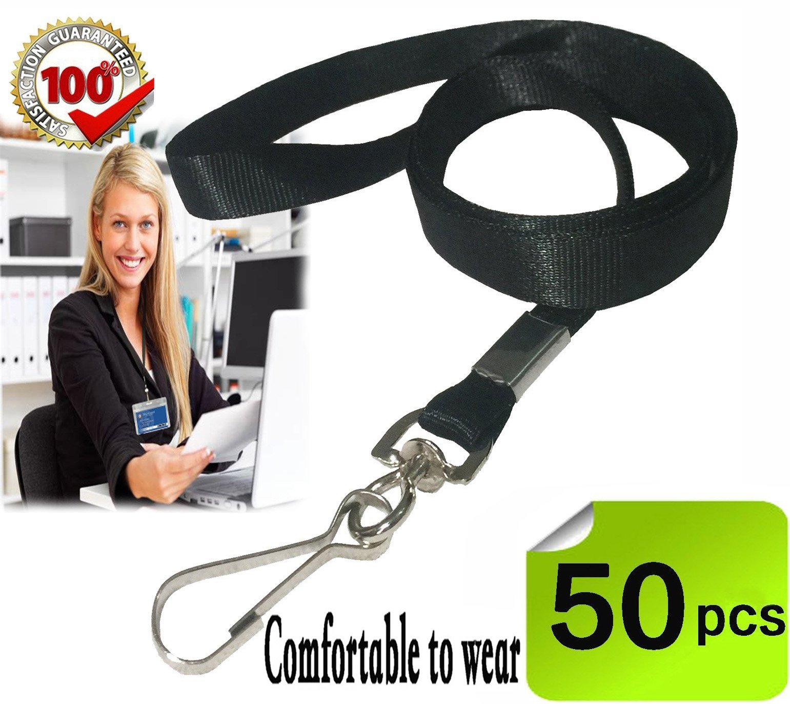 Bulk Lanyard,Black Lanyards for Id badges, lanyards with clip,Nylon Neck Flat Lanyards with Swivel Hook clips Durably Woven Lanyards 50 pack for Office ID Name Tags and Badge Holders Attachment(Black)