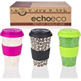 Reusable Bamboo Coffee Cup [3 Pack] Travel Tea Mug with Lid & Sleeve - Biodegradable, Sustainable, Eco & Environmentally Friendly Products, Naturally Organic Cups to Go