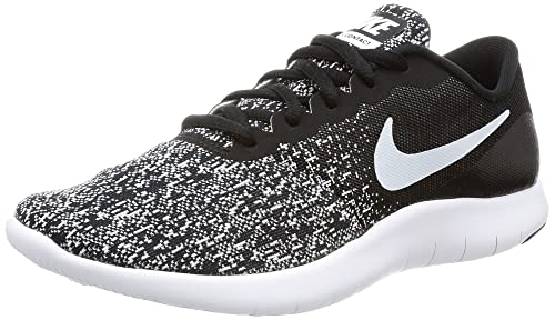 1481d7a3404a1 Nike Womens Flex Contact Fabric Low Top Lace Up Running, Black/White, Size  6.5