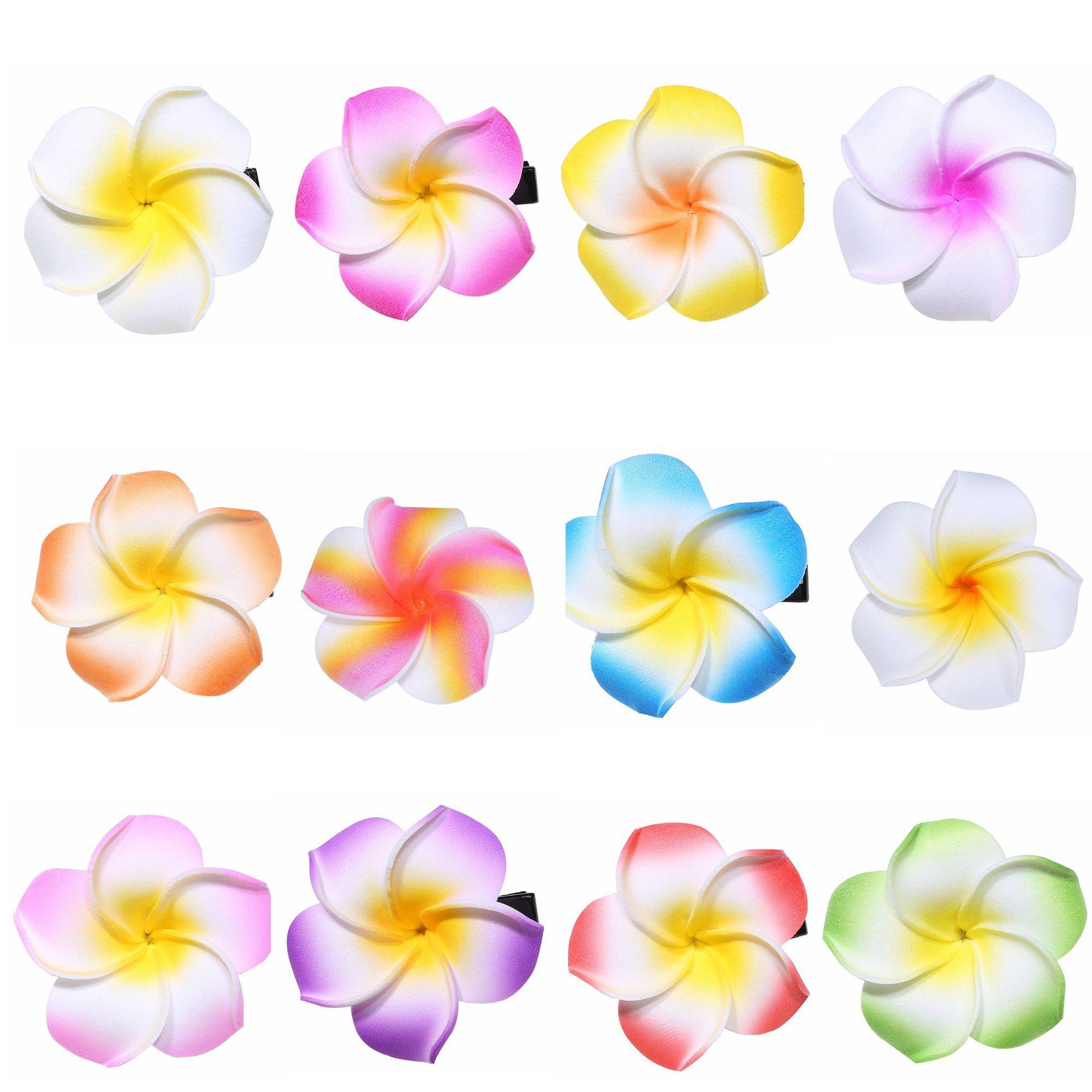 Best flower clips for hair amazon youbami set of 24 pieces 175 hawaiian plumeria foam flower hair clip accessory izmirmasajfo