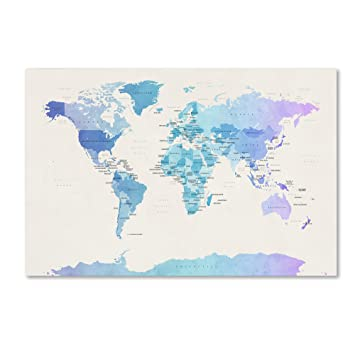 Amazon.com: Watercolour Political Map of The World by Michael ...