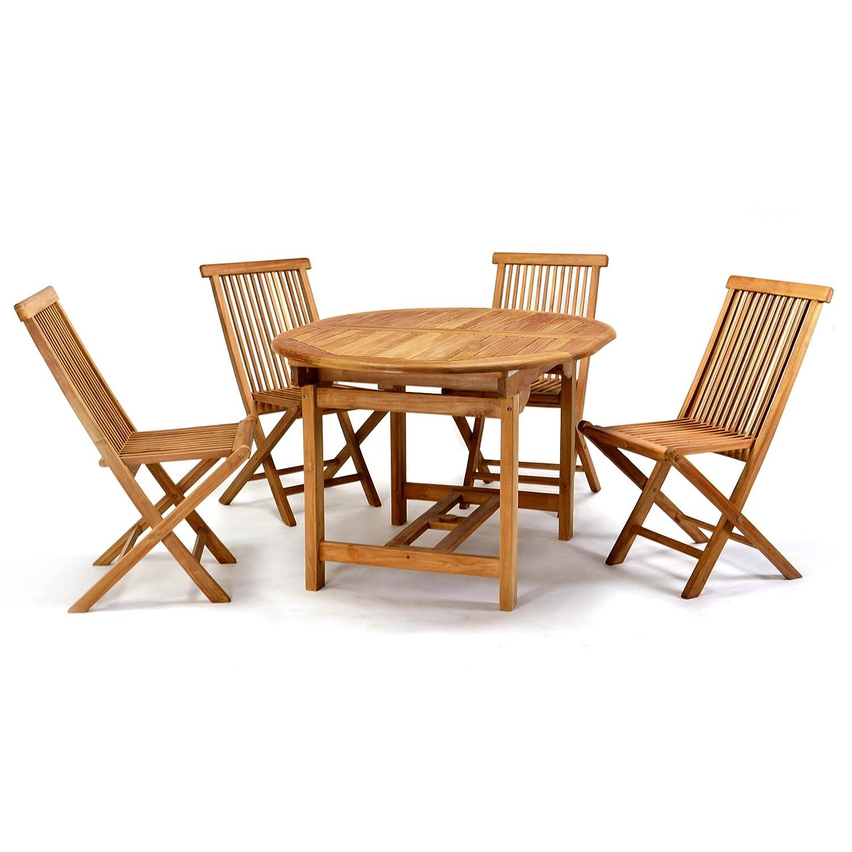 divero gartenm belset sitzgruppe teakholz tisch 120 170 cm g nstig kaufen. Black Bedroom Furniture Sets. Home Design Ideas